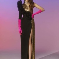 Black And Gold One Shoulder Gown