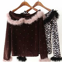 Women's velvet one-breasted blouse with fur collar
