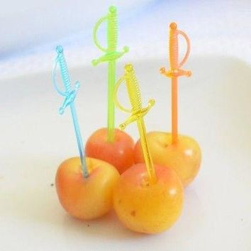 """36 Count Pirate Sword Food Pick 2.75"""" Assorted Neon Colors Nautical Theme Party Wedding Baby Shower Birthday"""
