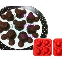 SET OF TWO (2) Polymerose 4 Cavity Silicone MICKEY MOUSE candy chocolates mold