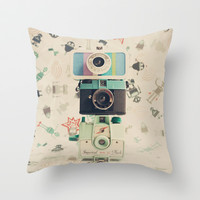 Three is the magic number, Mint Retro Cameras Throw Pillow by AC Photography