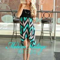 Party at Midnight Chevron High low TEAL
