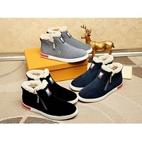 LV Louis Vuitton Men's Suede Leather Mid Top Sneakers Shoes