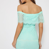 Don't Speak Dress - Green / Mint off the shoulder fitted lace dress