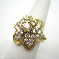 Vintage Rhinestone Cluster Ring - Gold over Sterling Cocktail Costume Jewelry
