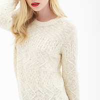 FOREVER 21 Cable Knit Sweater Cream
