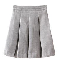 Gray Woolen Pleated Mini Skirt