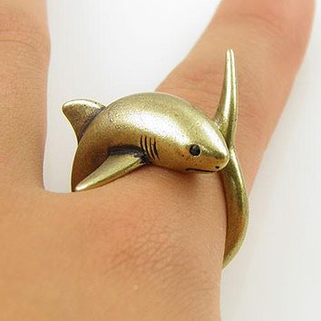 Animal Wrap Ring - Shark - Yellow Bronze - Adjustable Ring