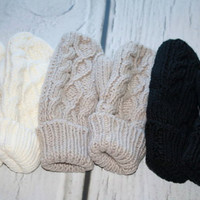 Winter Gloves, Mittens, Fleece Lined Cable Knit Plush Mittens