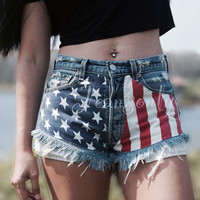 Levis High waisted denim shorts Grunge Hipster Tumblr clothing American flag distressed shorts by Jeansonly