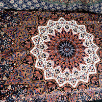Twin Psychedelic Star Tapestry Indian Handmade Hippie Tapestries Dorm Decor Wall Hanging Bedspread