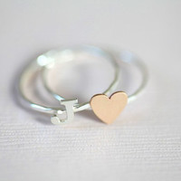personalized initial stackable rings  (gold filled tiny heart ring with sterling silver initial ring)