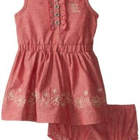 Calvin Klein Baby Girls' Red Denim Dress with Trim