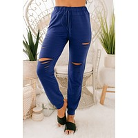 Change Directions Distressed Cut Out Joggers (Royal Blue)