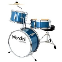 Mendini by Cecilio Metallic Blue 13 Inch 3-Piece Junior Drum Set, MJDS-1-BL