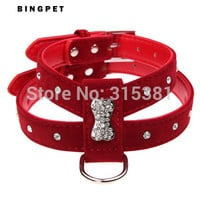 Bling Rhinestone Teacup Pets Suede Leather Dog Cat Harness with Leash buckle for Puppy Chihuahua Bone Velvet Dog Collar