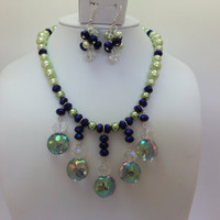Green Pearl, Purple and Rainbow Swarovski Crystal Bib Necklace and Matching Earrings - Vitrail, Glass Pearl, Bead Cluster, Matching Set