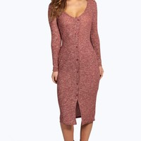 Petite Lola Button Front V Neck Rib Midi Dress