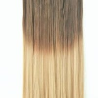"20"" 22"" 3/4 Full Head Clip in Hair Extensions Ombre One Piece 2 Tones Straight Black Brown Blonde Red (Chocolate brown to sandy blonde)"