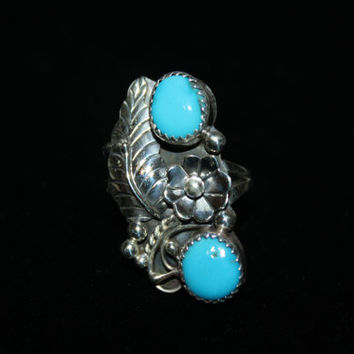 Feather Sterling Silver Ring Signed HG With Double Turquoise Vintage Ring Size 7- free ship US