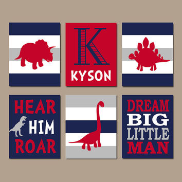 DINOSAUR Wall Art Dinosaur Decor Boy Nursery Wall Art Dino Theme Boy Bedroom Dream Big Little Man Roar Navy Red Set of 6 Prints Or Canvas