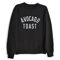 AVOCADO TOAST Women's Casual Black White & Gray Crewneck Sweatshirt