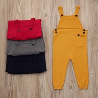 born Toddler Kids Baby Boys Girls Knitted Overalls Strap Rompers Jumpsuit Outfits Sleeveless Pocket Baby Boy Girl Rompers