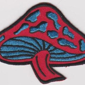 Mushroom Iron-On Patch Red With Blue Spots