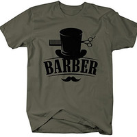 Shirts By Sarah Men's Barber T-Shirt Top Hat Vintage Hipster Mustache Barbers Shirts