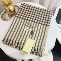 BURBERRY Fashionable Women Men Plaid Comfortable Cashmere Scarf Scarves Shawl Khaki