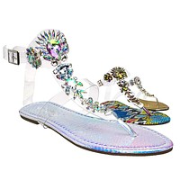 Marlo29 Lucite Clear Rhinestone Embellished Sandal - Transparent Strappy Flats