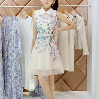 White Floral Print Sleeveless Collared A-Line Chiffon Dress
