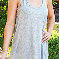 SEE YOU AGAIN CROCHET TANK IN HEATHER GREY