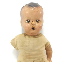 Antique 1920s Composition Baby Doll, Horsman, Sleepy Eyes, Soft Body, Creepy Doll Decor, Distressed Chipped, Old Doll, Collectible, Oddities