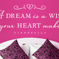 """Cinderella """"A dream is a wish your heart makes"""" - Wall Vinyl Quote"""