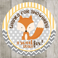 Yellow Fox Thank You Stickers Labels for Baby Shower - Set of 30