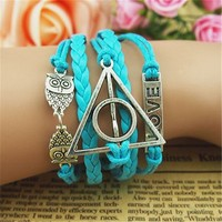 Owls Deathly Hallows Braid Love 5 Layers Blue Handmade MultiLayered Bracelet BDP0529