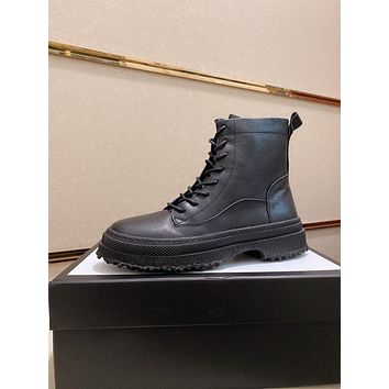 Gucci 2021 Trending Women's men Leather Side Zip Lace-up Ankle Boots Shoes High Boots09150em