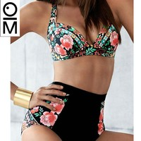 New Sexy Push Up Bikini Swimsuit Women Plus Size Swimwear Floral Patchwork Bikini High Waist Swimsuit Beach Swimwear Set XXXL