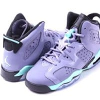 Jordan Kid's Air 6 Retro GG, IRON PURPLE/BLEACHED TURQ-BLCK, Youth Size 7