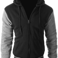 Enimay Full Zipper Hooded Sweater Pull-Over with Sherpa-Lined Fleece Letterman & Solid (Many Colors Available)
