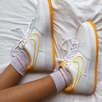 NIKE Air_Force 1 Lemon yellow women's shoes