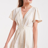 Cooperative Cabana Striped Surplice Romper   Urban Outfitters