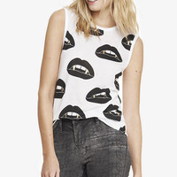 GRAPHIC MUSCLE TANK - VAMPIRE LIPS from EXPRESS