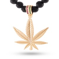 14K Gold Onyx Beaded Weed Leaf Necklace