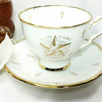 Vintage White Shrine Royal Stafford Bone China Teacup and Saucer/Cross Star Gold Trim Cup and Saucer/Made in England In Hoc Signo Spesmea
