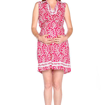 Due Maternity Lacey Pregnancy And Beyond Shift Dress - Magenta/White