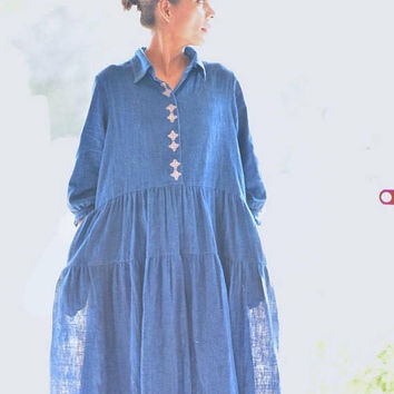 Larissa, Kala Cotton Indigo Long Dress With Hand Embroidery at Panel Opening