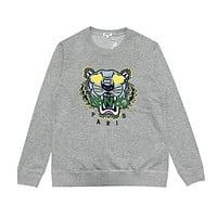 Kenzo New fashion embroidery tiger letter couple long sleeve top sweater Gray