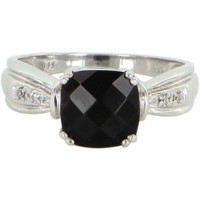 Onyx Diamond Square Vintage Cocktail Ring 10k White Gold Estate Fine Jewelry